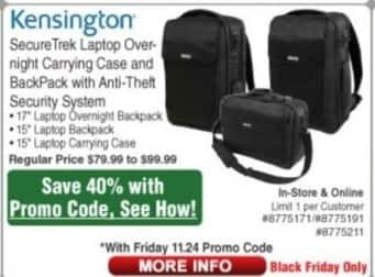 Frys Black Friday: Kensington SecureTrek Laptop Carrying Case - 40% Off