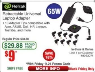 Frys Black Friday: Retrak Retractable Universal Laptop Adapter for $9.00