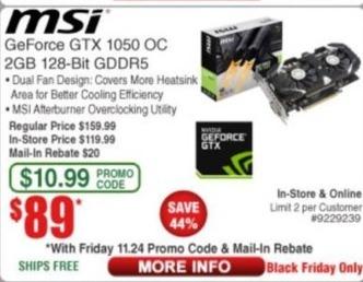 Frys Black Friday: MSI GeForce GTX 1050 OC 2GB 128-Bit GDDR5 for $89.00 after $20.00 rebate