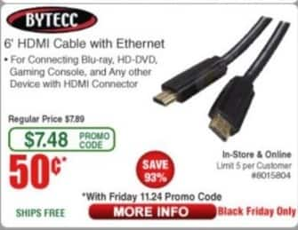 Frys Black Friday: Bytecc 6' HDMI Cable for $0.50