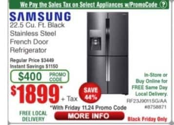 Frys Black Friday: Samsung 22.5 cu. ft. Stainless Steel French Door Refrigerator for $1,899.00