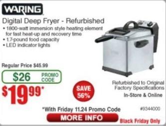 Frys Black Friday: Waring Digital Deep Fryer - Refurb for $19.99