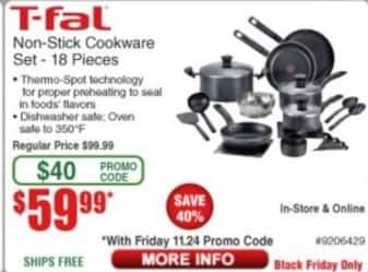 Frys Black Friday: T-fal Non Stick 18-pc Cookware Set for $59.99