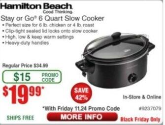 Frys Black Friday: Hamilton Beach 6-qt Slow Cooker for $19.99