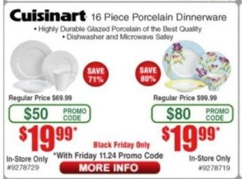 Frys Black Friday: Cuisinart 16-pc Porcelain Dinnerware for $19.99
