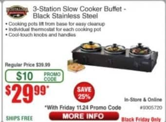 Frys Black Friday: Nostalgia 3-Station Slow Cooker Buffet for $29.99