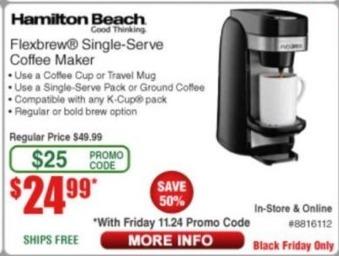 Frys Black Friday: Hamilton Beach Flexbrew Single Serve Coffee Maker for $24.99