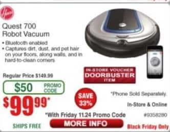 Frys Black Friday: Hoover Quest 700 Robot Vacuum for $99.99