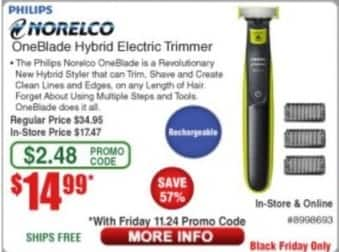 Frys Black Friday: Philips Norelco OneBlade Hybrid Electric Trimmer for $14.99