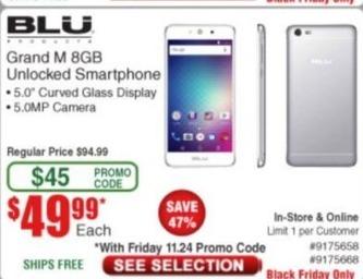 Frys Black Friday: Blu Grand M 8GB Unlocked Smartphone for $49.99