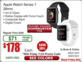 Frys Black Friday: Apple Watch Series 1 38mm for $178.00