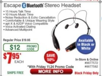 Frys Black Friday: Escape Bluetooth Stereo Headset for $7.95