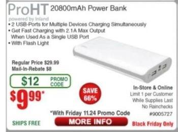 Frys Black Friday: ProHT 20800mAh Power Bank for $9.99