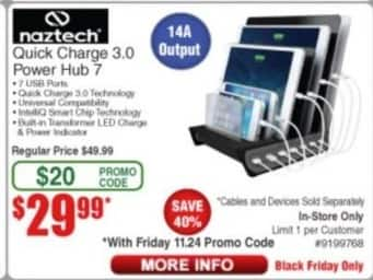 Frys Black Friday: Naztech Quick Charge 3.0 Power Hub 7 for $29.99
