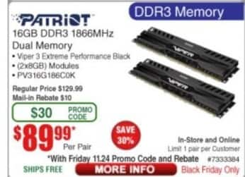 Frys Black Friday: Patriot 16GB DDR3 1866MHz Dual Memory for $89.99 after $10.00 rebate