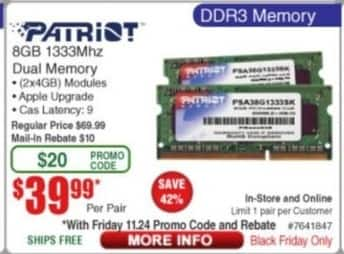 Frys Black Friday: Patriot 8GB 1333Mhz Dual Memory for $39.99 after $10.00 rebate