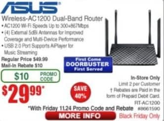 Frys Black Friday: Asus Wireless AC1200 Dual Band Router for $29.99 after $10.00 rebate