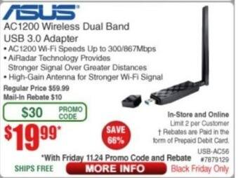 Frys Black Friday: Asus AC1200 Wireless Dual Band USB 3.0 Adapter for $19.99 after $10.00 rebate