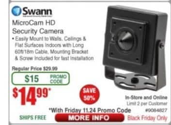 Frys Black Friday: Swann MicroCam HD Security Camera for $14.99