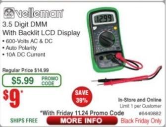 Frys Black Friday: Velleman 3.5 Digit DMM w/ Backlit LCD Display for $9.00