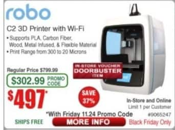 Frys Black Friday: Robo C2 3D Wifi Printer for $497.00