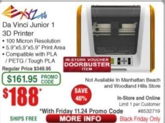 Frys Black Friday: Da Vinci Junior 1 3D Printer for $188.00