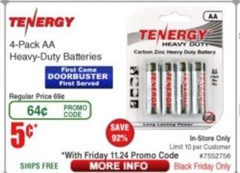 Frys Black Friday: Tenergy AA 4-pk Batteries for $0.05