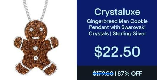 eBay Black Friday: Crystaluxe Sterling Silver Gingerbread Man Cookie Pendant w/ Swarovski Crystals for $22.50