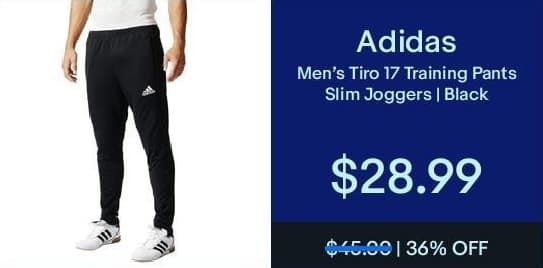 eBay Black Friday: Adidas Men's Tiro 17 Black Training Pants for $28.99