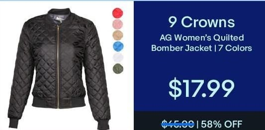 eBay Black Friday: 9 Crowns AG Women's Quilted Bomber Jacket for $17.99