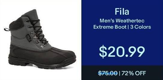 eBay Black Friday: Fila Men's Weathertec Extreme Boot for $20.99