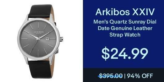 eBay Black Friday: Arikibos XXIV Men's Quartz Sunray Dial Date Genuine Leather Strap Watch for $24.99