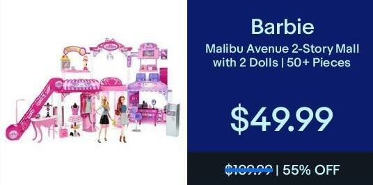 eBay Black Friday: Barbie Malibu Avenue 2-Story Mall w/ 2 Dolls for $49.99