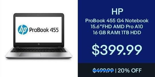 "eBay Black Friday: HP ProBook 15.6"" 455 G4 Notebook AMD A10, 16GB Ram, 1TB HDD, Win 10 for $399.99"