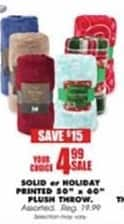 "Blains Farm Fleet Black Friday: Solid or Holiday Printed 50""x60"" Plush Throw for $4.99"