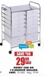 Blains Farm Fleet Black Friday: Honey Can Do 12-Drawer Clear Rolling Storage Cart for $29.99