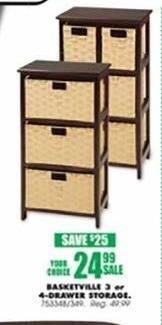 Blains Farm Fleet Black Friday: Basketville 3 or 4-pc Drawer Storage for $24.99
