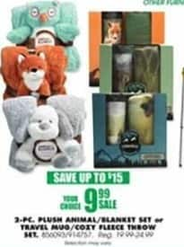Blains Farm Fleet Black Friday: 2-pc Plush Animal/Blanket Set or Travel Mug/Cozy Fleece Throw Set for $9.99