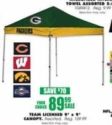 Blains Farm Fleet Black Friday: Team Licensed 9-ft. x 9-ft. Canopy Tent for $89.99