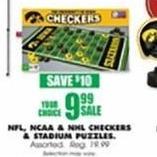 Blains Farm Fleet Black Friday: NFL, NCAA & NHL Checkers & Stadium Puzzle for $9.99