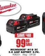 Blains Farm Fleet Black Friday: Milwaukee M18 XC 3.0 AMP Battery 2-pk for $99.00