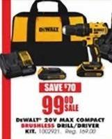 Blains Farm Fleet Black Friday: DeWalt 20V Max Compact Brushless Drill/Driver Kit for $99.00