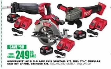 Blains Farm Fleet Black Friday: Milwaukee M18 9.0 Amp SawZall Kit or Milwaukee M18 9.0 Amp Fuel 7.25-in. Circular Saw Kit for $249.00