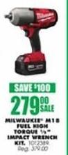 "Blains Farm Fleet Black Friday: Milwaukee M18 Fuel High Torque 1/2"" Impact Wrench Kit for $279.00"