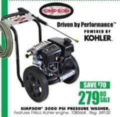Blains Farm Fleet Black Friday: Simpson Mega Shot 3000 PSI Gas Pressure Washer for $279.00