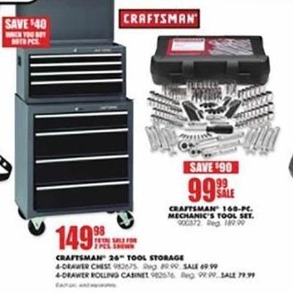 Blains Farm Fleet Black Friday: Craftsman 4-Drawer Rolling Cabinet for $79.99