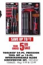 Blains Farm Fleet Black Friday: ToolRich 24-pc Precision Tool Set or ToolRich 10-pc Interchangeable Blade Screwdriver Set for $5.99
