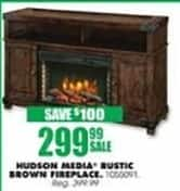 Blains Farm Fleet Black Friday: Hudson Media Rustic Brown Fireplace for $299.99
