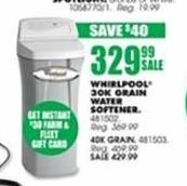 Blains Farm Fleet Black Friday: Whirlpool 40,000 Grain Water Softener + $30 Gift Card for $429.99