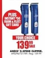 Blains Farm Fleet Black Friday: Andis 2-Speed Clipper + $50 Farm & Fleet Gift Card for $139.99